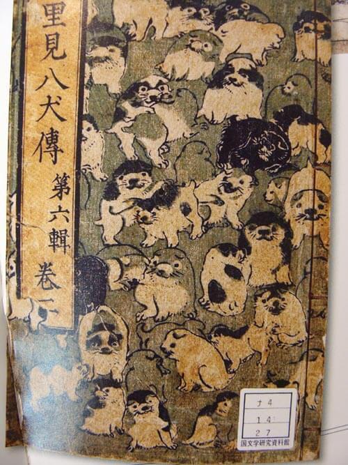 45w8cm 江戸時代の里見八犬伝の読本。表紙が超キュート ! 画像