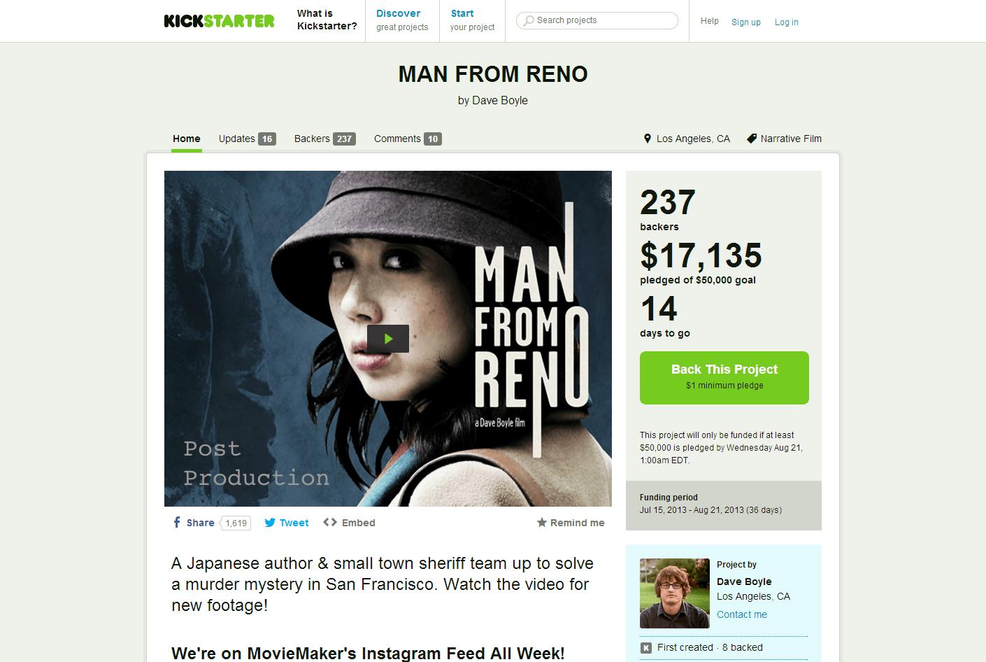 MAN-FROM-RENO-by-Dave-Boyle-Kickstarter 藤谷文子、北村一輝主演の映画「Man From Reno リノから来た男」がKickstarterで制作資金を募集中!! Post